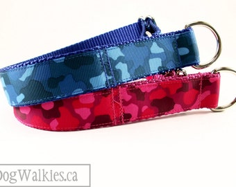 """Pink or Blue Camo Print Dog Collar // 1"""" (25mm) Wide // Choice of color, size and style // Martingale or Quick Release // Fuchsia // Camo"""