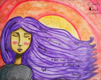 A purple haired dreamer, Fine Art Print, Wall Art Home Decor, Whimsical Art, Poster Art Prints, Sunset Girl Art, Gift for Women, Girl Art