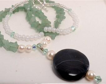 Black Banded Agate and Aventurine Gemstone Necklace
