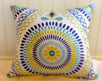 IN STOCK / Blue, Lime Green, Turquoise  Mosaic Pillow Cover / 14 X 14 / Clardige Designer Upholstery