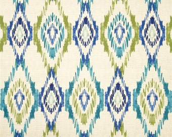 Blue, Teal, Lime and Tan Geometric Curtain Panels / Custom drapery in Swavelle/Mill Creek Sosie Springwater