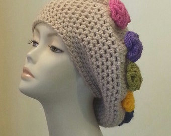 Crocheted Beret Hat - Boho - Over Sized Beret Hat - Flower Hat - Slouch Hat - Flower hat - FREE UK DELIVERY
