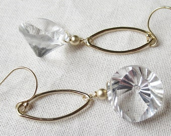 AAA Rock Crystal Quartz Cocave Cut Earrings with 14k Gold Filled Links and Earwires