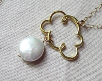 Gold and Pearl Cloud Necklace