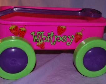 Girls Short Toy Wagon Cart - Strawberries - Personalized and Hand Painted