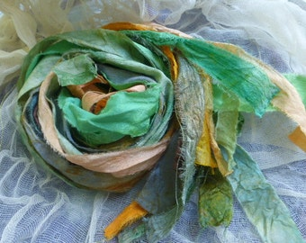 14 hand dyed silk ribbons approx 1m each mix of texture/colour - FR14