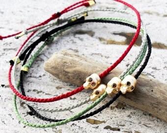 Mens bracelet, Skull bracelet - gold skull bead on nylon cord