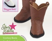 Leather Cowboy Boots Doll Clothes PDF Pattern for 18 inch American Girl Dolls - INSTANT DOWNLOAD