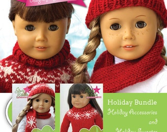 Holiday Accessories and Holiday Sweater Knitting Pattern for 18 inch American Girl Dolls - PDF - INSTANT DOWNLOAD