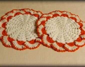 Beautiful Crocheted Doilies White Orange Vintage