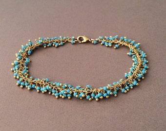 Gold Turquoise Fringe Beaded Bracelet