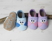 New Baby Gift - personalized baby shoes - leather baby shoes - Baby Bird shoes - christening gift -  personalized baby gift - baby keepsake