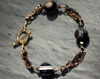 Rose, Black, and Gold Chain with Striped Agate Bead Bracelet