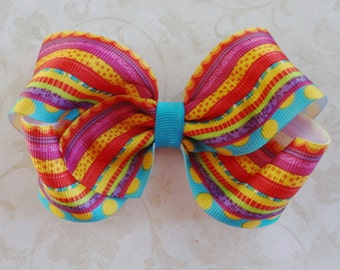 Stripes and Dots Twisted Boutique Bow - Turquoise, Red, Yellow, Purple Baby Hairbow - Girls Hairbow