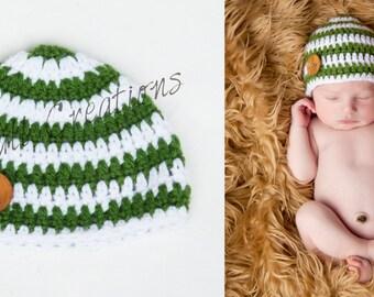 Newborn Green and White Striped Beanie