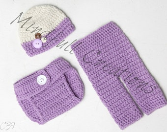 Newborn Beanie, Pant, and Diaper Cover Set