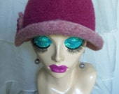 Old Rose & Wood Rose Vintage Inspired Crocheted Felted Cloche Flapper Hat 'Carrie Bell'