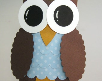 Baby Blue and Brown Owl Favor Boxes - Owl Baby Shower Decorations -  Owl Birthday Party - Set of 12