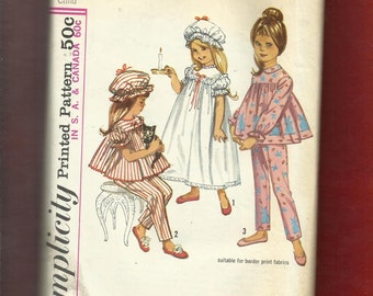 Vintage 1960's Simplicity 5080 Little House on the Prairie Nightgown Bonnet & Pajamas for Wee Little Girls Size 1