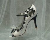 White Black Wedding high heels - White Black Bridal shoes, peep toe, ankle strap, High Heels, White Satin, Black Trim, Goth Wedding