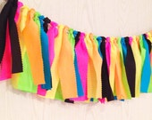 Neon Fabric Tie Garland - Neon Bunting - Neon Banner - Neon Party - Glow in the Dark Party - Blacklight Party - 80s Party