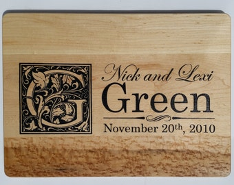 PERSONALIZED CUTTING BOARD / Establishment Monogram cutting board Carved from Maple and Painted.