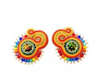 Soutache statement hand made earrings - elegant, unique and unusual SUMMER PARROT