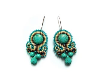 Soutache earrings with howlite stones - classy, fasionable and very elegant - Turquoise Soul