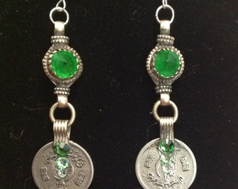 Green Kuchi & Crystal Earrings