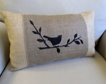 songbird hand painted burlap lumbar pillow