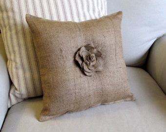 14 inch square burlap with center ROSE