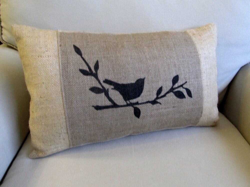 Songbird Hand Painted Burlap Lumbar Pillow By Pineconeshoppe
