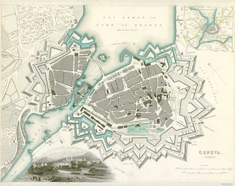 Geneva 1844. Antique City Map of Geneva, Switzerland. Published by SDUK - MAP PRINT