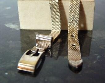 SPRING SALE Vintage Silver Interesting Belt with Adjustable Buckle Bracelet with Engravable Plate