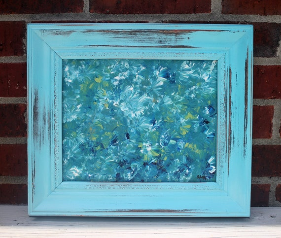 SALE  Deep Blue Sea Shabby Chic Original Abstract Impressionism Painting