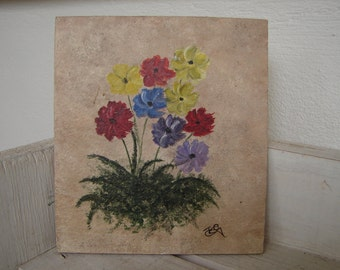 small, vintage, hand-painted floral, flowers,watercolour acrylic painting on wood.