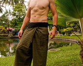 Thai fisherman  Pants, color green Cotton,  Ash w Fringe Squares Design UNISEX