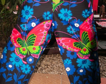 Thai  Pants, Black w Pink and Blue Big Butterfly Design in Cotton