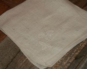 Vintage White Hankie Handkerchief  White Embroidered  Cut Work  Floral Linen Vintage Hankie