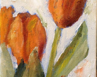 Sale, Abstract Art, Acrylic Painting, Abstract Flowers, Floral, Orange Tulips, Palette Knife Painting
