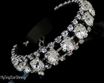Bridal crystal Bracelet Wedding bracelet Swarovski Crystal Bracelet Clear Crystal Rhinestone Silver Bracelet Diamond Bracelet Wedding