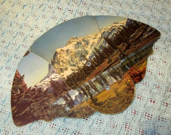 Vintage 50s Advertising Folding Paper Fan  with Mountain Scene from Arlington, Nebraska