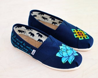 Lotus Flower and Endless Knot Toms - Hand-painted