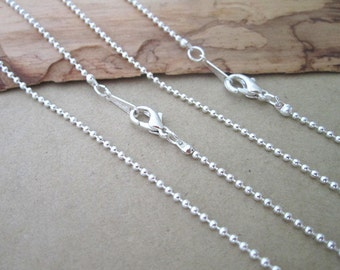 50pcs 1.5mm 18inch Silver color  ball necklace chain with Lobster Clasp