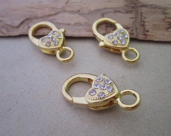 10pcs Gold color with Crystal  Lobster Clasps 12mmx27mm