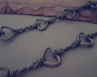 3ft  Antique bronze  peach heart  Metal Chain Necklace Chain 13mmx22mm