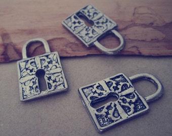 10pcs Antique Silver lock Pendant Charms 15mmx26mm