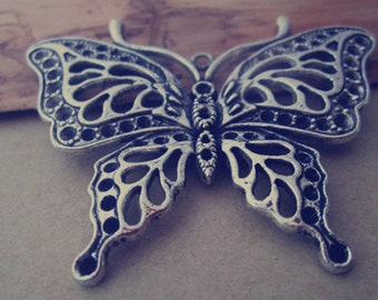 4pcs Antique silver butterfly charm pendant  48mmx60mm