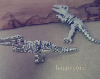 2pcs  white K Double sided dinosaur Pendant Charms 21mmx56mm