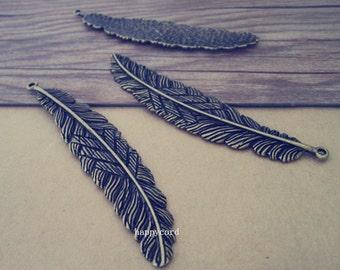 4pcs  Antique Bronze feather Pendant Charms 16mmx85mm